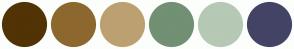 Color Scheme with #513306 #8D682E #BDA071 #729073 #B5C9B5 #434465