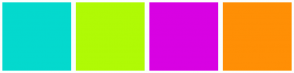 Color Scheme with #04D9CE #B0FA05 #D802E3 #FF8F05