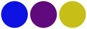 Color Scheme with #0E12E3 #610A7E #C7BF16
