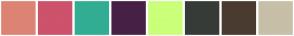 Color Scheme with #DD8374 #CD526C #32AD93 #462046 #CAFF79 #373B38 #493B2F #C7BFA8