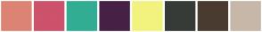 Color Scheme with #DD8374 #CD526C #32AD93 #462046 #F2F27E #373B38 #493B2F #C7B7A8