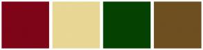 Color Scheme with #7D0517 #E8D795 #054201 #6E4F20