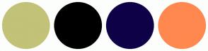 Color Scheme with #C2C278 #000000 #0F0147 #FF884F