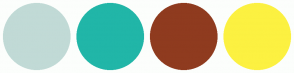 Color Scheme with #C1DAD6 #21B6A8 #8F3B1F #FCF141