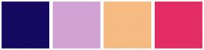 Color Scheme with #150861 #D1A3D4 #F5BB82 #E32D64
