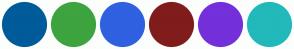 Color Scheme with #005B9A #3DA43F #2F61E0 #801C1C #7430DA #22B9BA