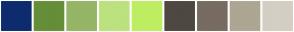 Color Scheme with #0D2C6E #668E39 #96B566 #BCE27F #BFED62 #4E4841 #776B62 #ADA692 #D5CEC4
