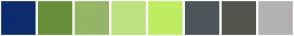 Color Scheme with #0D2C6E #668E39 #96B566 #BCE27F #BFED62 #4B5559 #51554C #B3B1B2