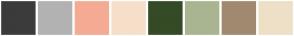 Color Scheme with #3B3B3B #B2B2B2 #F5AB93 #F5DFC9 #354A26 #A9B591 #A18970 #EDE0C7