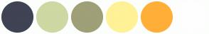 Color Scheme with #3F4354 #CDD8A3 #9F9F78 #FFF196 #FFAF38 #FEFEFE