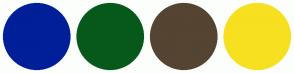 Color Scheme with #001F99 #06591B #544431 #F7E020