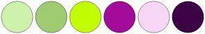 Color Scheme with #CEF2AB #9FCC71 #C3FD04 #A30C98 #F7D7F5 #3C0345