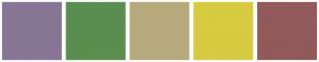 Color Scheme with #877695 #598E50 #B6AA7D #D6CB41 #925A5A