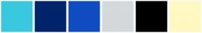 Color Scheme with #39C9DF #00246B #104CC1 #D4D9DB #000000 #FFF8C0