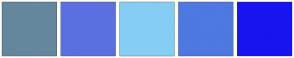 Color Scheme with #65879D #5A70E1 #86CDF4 #4D79E1 #1814F0