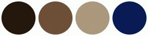 Color Scheme with #24180D #6E4F37 #AB987D #081B54