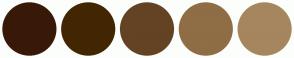 Color Scheme with #381908 #422602 #634323 #8F6D45 #A6865E