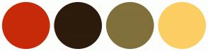 Color Scheme with #C72A08 #2D1B0C #81703B #FBCE63
