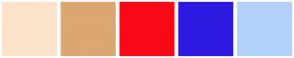 Color Scheme with #FCE3CA #DBA772 #F70A16 #2D19E0 #B3D1FC