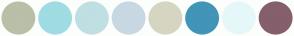Color Scheme with #BABFA8 #9FDCE3 #BFDFE3 #C8D8E3 #D6D5C1 #4294B8 #E6F7FA #855F6B