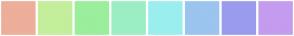 Color Scheme with #EDAE9A #C4EE9B #9BEE9B #9BEEC4 #9BEEEE #9BC4EE #9B9BEE #C49BEE