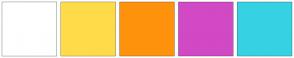 Color Scheme with #FFFFFF #FFDB4A #FF920D #D149C4 #36D2E3