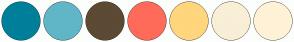 Color Scheme with #007F9A #60B6C6 #5C4A34 #FF6B5A #FFD67D #F9EFD6 #FFF2D7