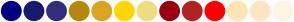 Color Scheme with #000080 #191970 #342D7E #B8860B #DAA520 #FFD700 #EEDD82 #990012 #B22222 #FF0000 #FFE5B4 #FFE4C4 #FDF5E6