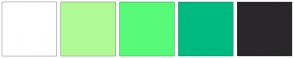 Color Scheme with #FFFFFF #AFFA96 #57FA78 #00BA82 #292729