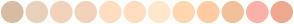 Color Scheme with #D7BCA2 #E8D1BA #F1D3BB #F1D3BB #FFDDC1 #FFDDC1 #FFE7CC #FFD7AF #FFCCA4 #F1C19B #FBB1A9 #EEA990