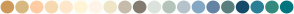 Color Scheme with #CE9959 #D8B880 #FFCCA4 #F7D9B1 #FFE7CC #FFF5D6 #FFF4E8 #EFE5C8 #C7BCAB #847C71 #DCE2DC #B5C4BB #B6C3CB #84A8C4 #6584A3 #5B7F7F #174B6A #2B7F97 #348A7D #00757D