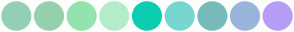 Color Scheme with #93CFB7 #97D0AE #94E3AF #B4EDCA #0BCEB1 #78D6D0 #77BBBA #9AB5DC #B69EF7