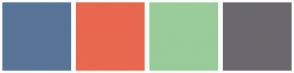 Color Scheme with #587498 #E86850 #99CC99 #6A686E