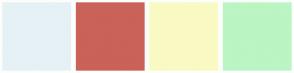 Color Scheme with #E6F1F5 #CA6259 #F9FAC3 #BAF5C3