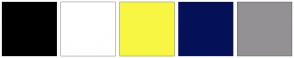 Color Scheme with #000000 #FFFFFF #F7F743 #041159 #949194