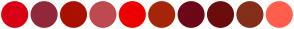 Color Scheme with #D90115 #91283B #A91101 #BD4A4F #ED0000 #A5260A #6D071A #6B0D0D #842E1B #FF5E4D