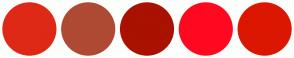 Color Scheme with #DE2916 #AE4A34 #A91101 #FF0921 #DB1702
