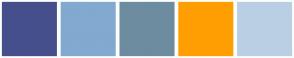 Color Scheme with #454F8C #82A9D0 #6D8CA0 #FF9E01 #BACFE4