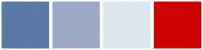 Color Scheme with #5A79A5 #9CAAC6 #DEE7EF #CE0000