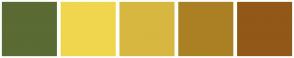 Color Scheme with #5A6B34 #F0D64E #D7B740 #AB8024 #925818