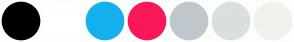 Color Scheme with #000000 #FFFFFF #16B0EE #F9185A #C0C7CD #DADFE0 #F0F2ED