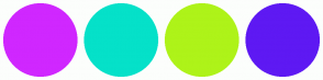Color Scheme with #D027FF #05E1C9 #AEF319 #5E19F3