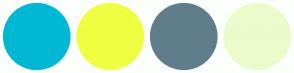 Color Scheme with #00B8D4 #EEFF41 #607D8B #ECFBCB