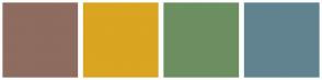 Color Scheme with #8E6C60 #DAA520 #6C8F61 #61838F