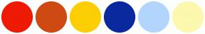 Color Scheme with #EE1A04 #CF4A12 #FDCE04 #0A299E #B2D5FD #FCF8AE