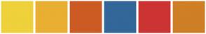 Color Scheme with #EFD13B #E9AF32 #CC5B23 #336699 #CC3333 #CF7F26