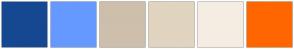 Color Scheme with #154890 #6699FF #CDBFAC #E1D4C0 #F5EDE3 #FF6600