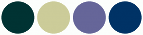 Color Scheme with #003333 #CCCC99 #666699 #003366
