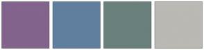 Color Scheme with #82648C #607F9E #69807D #BAB9B3