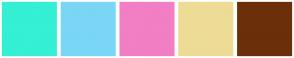 Color Scheme with #35F0D4 #7AD6F5 #F27EC4 #EDDC95 #6B3009